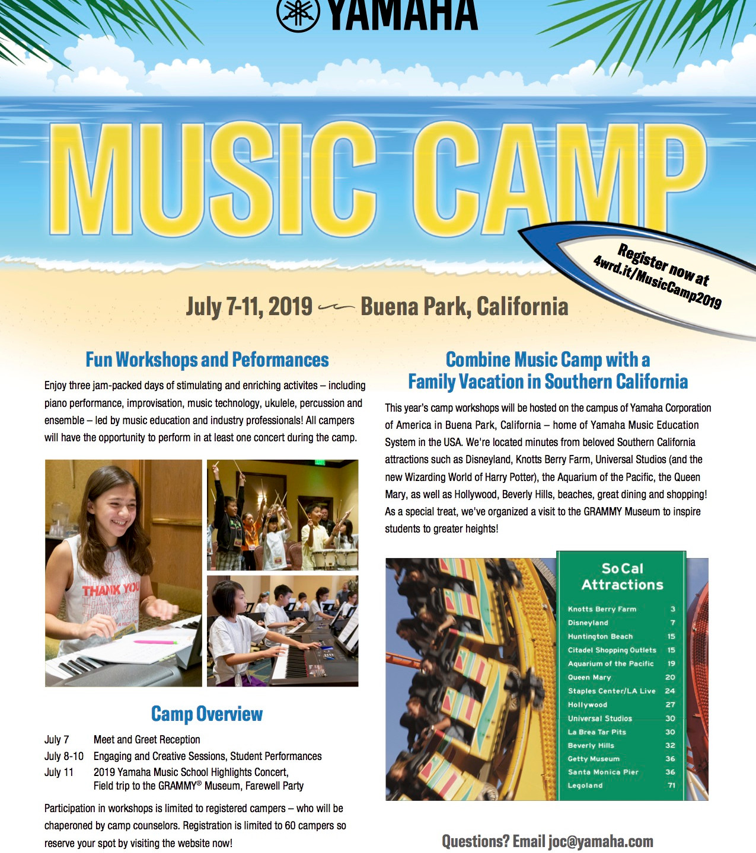 2019 Yamaha Music Camp Brochure 1