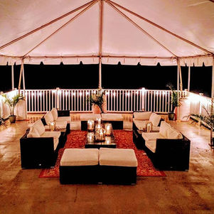 Rooftop set up with tent and lounge set up