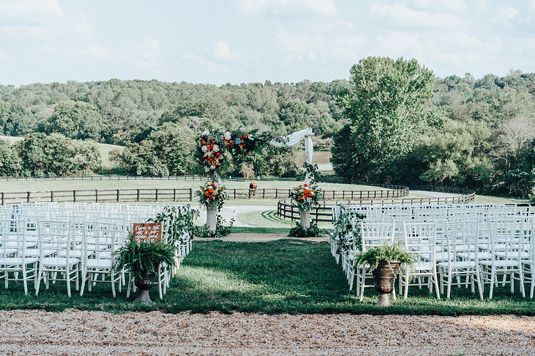 The ceremony space overlooking the lake at Rixey Manor, a northern virginia wedding venue