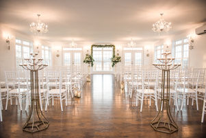 Ballroom set up for a ceremony