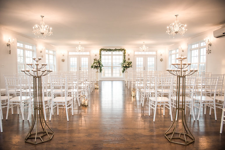 Rixey Manor set for an indoor ballroom ceremony