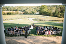 Overhead Photo of the Wedding Ceremony in Fall