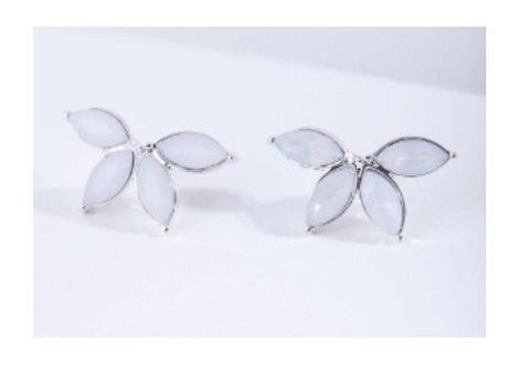 Synthetic White Opal Half Flower Stud Earrings