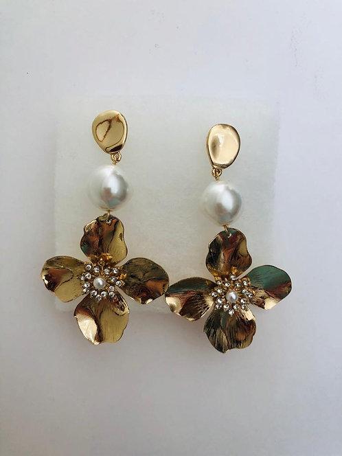 Gold Big Flower Pearl Earrings