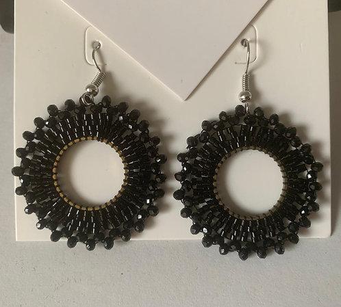 Black Pattern Drop Earrings