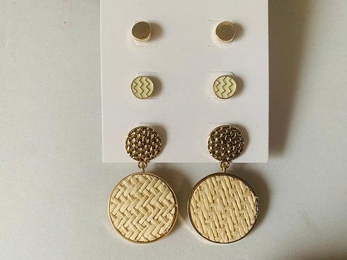 3 Pack Stud Earrings