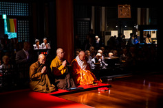 A final parting: From left, Venerables Heng Der, Heng Chang, and Zenryu Hidaka Hoin pay respects to Kobo Daishi, founder of Shingon Buddhism as the Compassionate Service Society Delegation bids farewell to Koyasan.