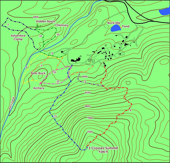 topographical map showing nine trails located at Highlands