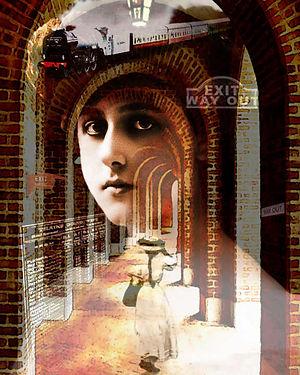 vintage lady photo surreal train station art collage