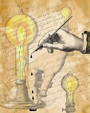 vintage light bulbs and victorian steampunk writing collage art