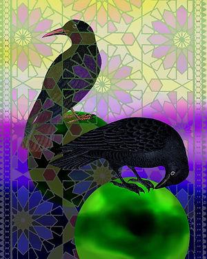 surreal raven art collage