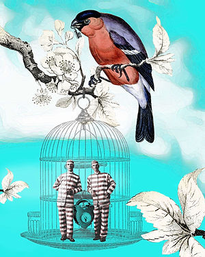 surreal digital art collage with prisoners in birdcage with bird holding the key