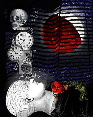 vintage insomnia phrenology head clocks and skull digital art