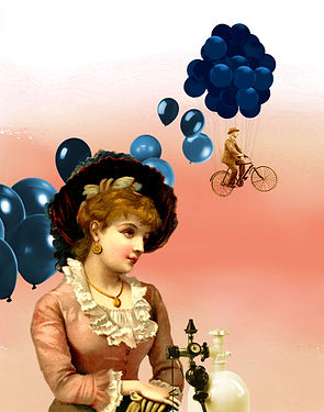 vintage lady with helium balloons art collage