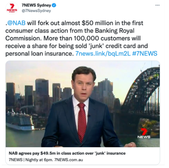 Reported by 7News - NAB will fork out almost $50 million in the first consumer class action from the Bank Royal Commision.