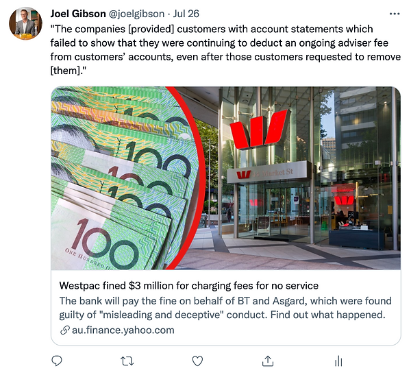 Westpac fined $3 million for charging fees for no service