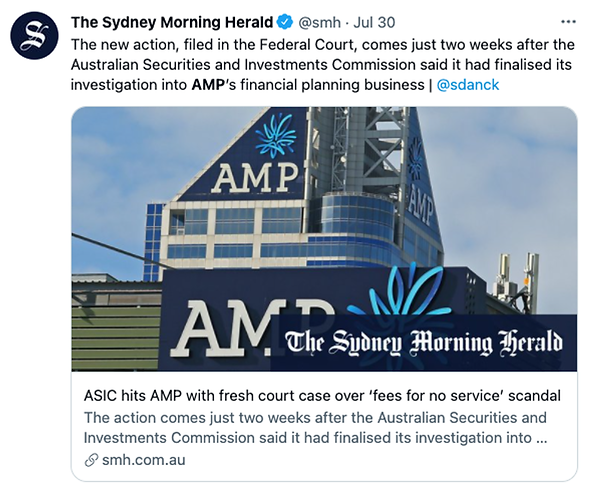 The Sydney Morning Herald Tweet - A new action, filed in the Federal Court