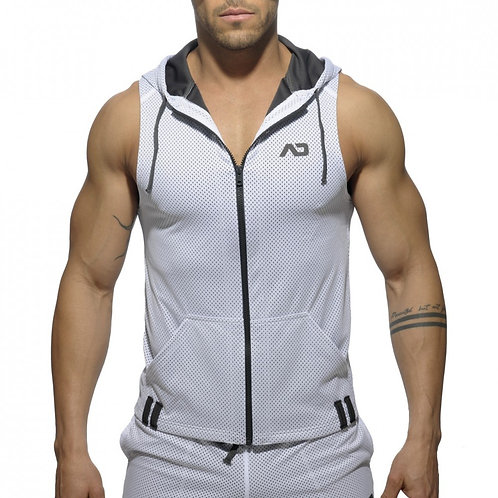 AD355 SLEEVLESS LOOP-MESH HOODY