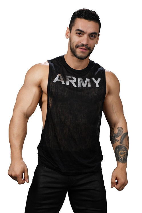 AC2756 Glam Burnout Army Gym Tank