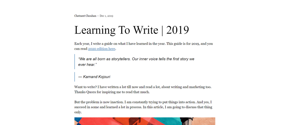Learning to Write | 2020 Edition