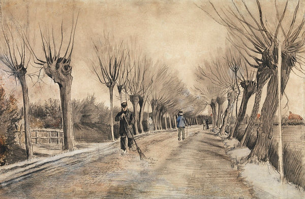 Pencil and watercolour sketch of men sweeping  a road lined by leafless trees.