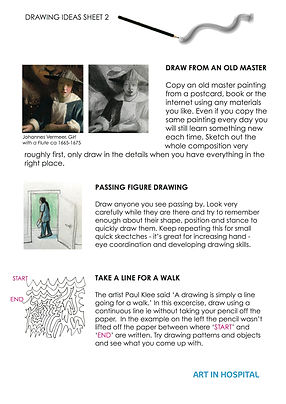 Ideas Sheet with text suggestions on how to draw figures and line with illustrative image per excercise.