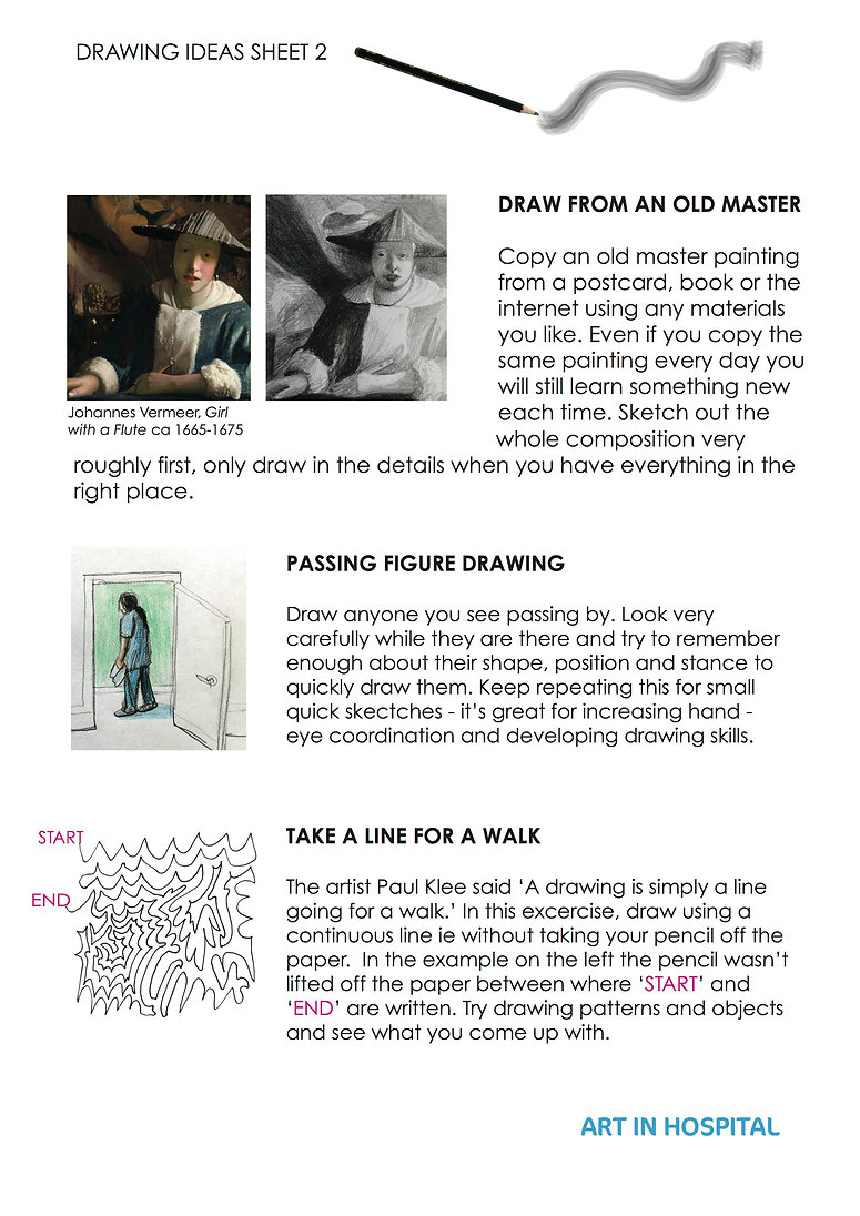 Drawing Ideas Sheet: Text suggestion Draw From An Old Master with image of Vermeer's painting, Girl with a Flute, alongside a pencil drawing copy of vermeer's painting. Text with drawing idea Passing Figure Drawing, with image of male figure walking past an open door. Text with drawing idea: Take A Line For A Walk, with drawing of a continous line with a start and end point marked out.