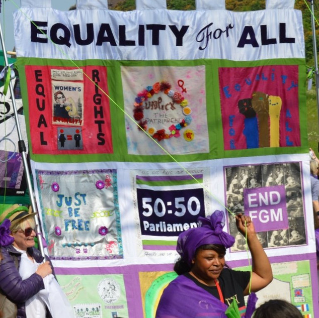 WASLER ARTS & Building Equality Banner for Processions, Edinburgh 2018