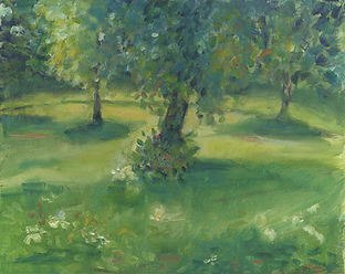 A sofly painted scene with dappled sunlight through trees onto the grass an flowers below.