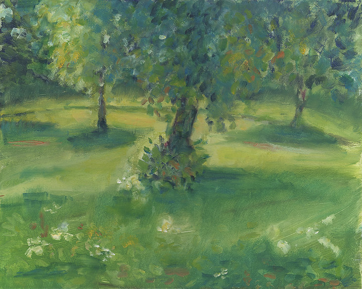 A softly rendered painting of a park scene. The sun creates dappled shadows over the grass, the trees are abundant with leaves of many shades of green, and small flashes of colour in the foreground suggest flowers.