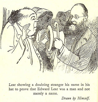 Illustration by Edward Lear of himself showing a stranger his name tag in his hat to prove that he is Edward Lear.