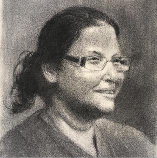 Charcoal portrait of Dr Elizabeth Oomen.
