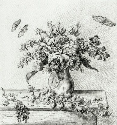 Still life with flower arrangement, fruits and insects by Jean Bernard (1775-1883). Original from The Rijksmuseum. Digitally enhanced by rawpixe