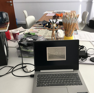 Documentation of the Sound Workshops.  The group were looking at Graphic Scores, and considering notation and ways of visualising sound.  Image description:  Open laptop on table with John Cage's Grapic Score visible.: