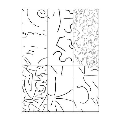 Black and white line drawing in six sections, each displaying a different abstract pattern.