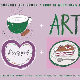 WASLER ARTS flyer for Peer Support drop in art group. Image description: Mauve background with illustration of green coffee cup, the word ART, a heart shape with the word support written in it and a piece of cake alongside details of address and times for the drop in arts group.