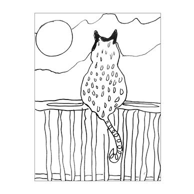 Black and white line drawing of the back of a cat sitting on a fence with a large sun or moon in the sky.