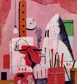 Image: Philip Guston 'The Studio' 1969© Estate of Philip Guston. A painting predominantly in red and pink shades. There's a cartoonish figure in a white cloak painting what looks like a self portrait, the figure's hand is oversized and there's another oversized hand in the foreground holding a cigarette. We can also see paintbrushes in a pot, a hanging lightbulb and a clock.