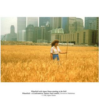 A photograph of a woman walking through a field of wheat, with city buildings in the background.