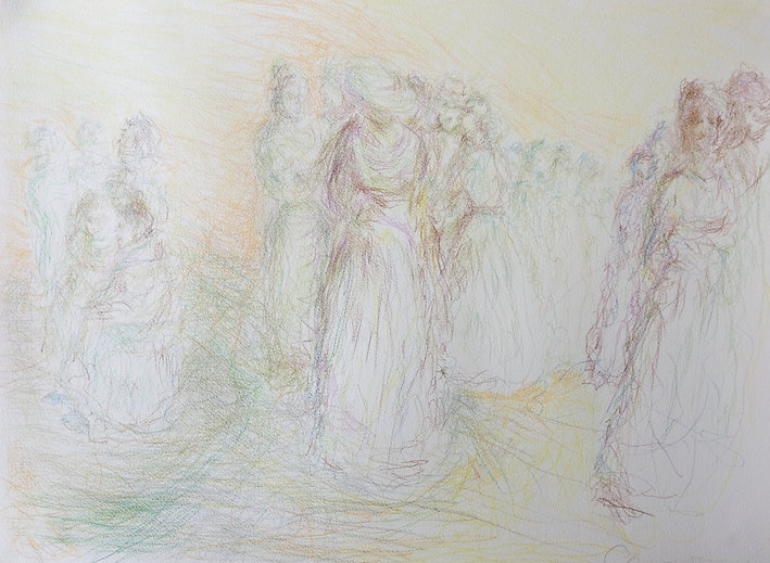 A delicate coloured pencil drawing of a group of female figures. It's subtly rendered, with lots of space and light. The figures are dressed in 19th century style dresses.