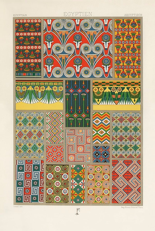 Albert Racinet's L'Ornement Polychrome, plates with Egyptian ornamental designs and patterns.