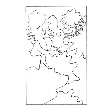 Black and white line drawing of a bushy garden, rendered in a playful surreal style. Two of the trees appear to be embracing each other and smiling.