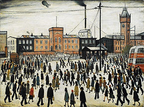 A painting depicting 19th century factory buildings (in Manchester) in the background, with simply formed figures in the foreground, all walking, slightly bent forwards. The sky is white.