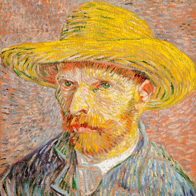 Self Portrait with Straw Hat, 1887 by Vincent Van Gogh  source rawpixel