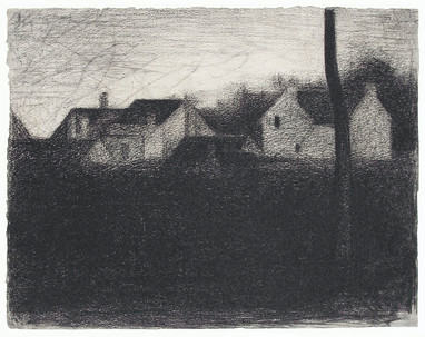 Landscape With Houses (ca. 1881–1882) by Georges Seurat. Original from The MET Museum. Digitally enhanced by rawpixel.