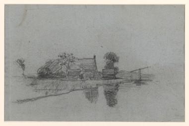 Boerderij aan water, Egbert Rubertus Derk Schaap, 1872 - 1939. Material: paper, chalk Measurements: h 296 mm × w 451 mm Source: Rijksmuseum, Public Domain