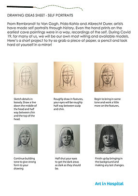 Self Portrait Draiwng Ideas Sheet. Text instructions with diagrams of how to begin drawing a self portrait.