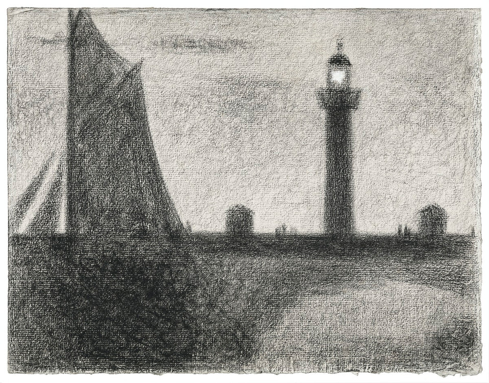 The Lighthouse at Honfleur (1886) by by Georges Seurat. Original from The MET Museum. Digitally enhanced by rawpixel.