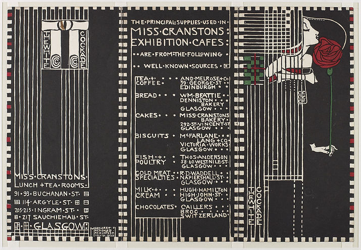 Margaret Macdonald Mackintosh, Menu for Miss Cranston's exhibition cafe, The White Cockade, 1911, coloured lithograph printed in black, white, red and green.