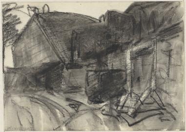 Boerderij, Willem van der Nat, 1874 - 1929. Material: paper, chalk Technique: brush Measurements: h 127 mm × w 178 mm Source: Rijksmuseum, Public Domain
